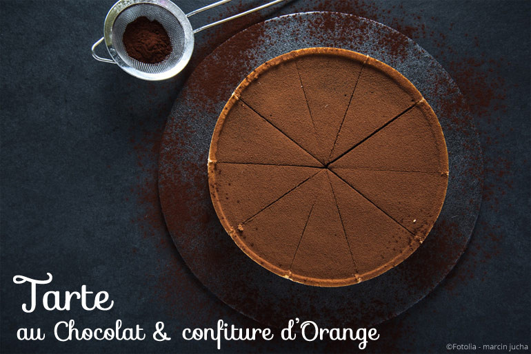 Tarte au chocolat sur lit d'orange