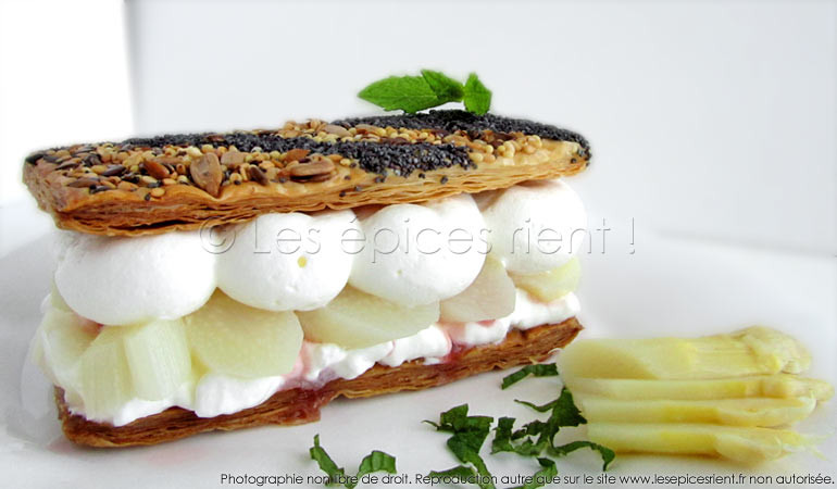 Presque-Millefeuille d'asperges, chantilly au gingembre