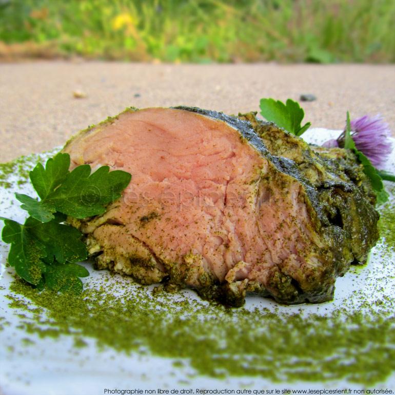 Filet mignon de porc et persillade à la vapeur